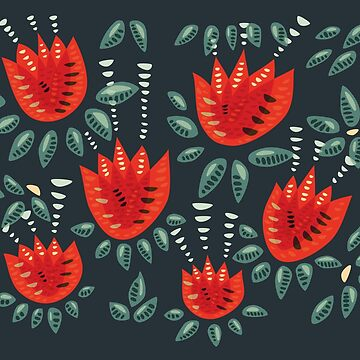 Beautiful Red Abstract Tulip Pattern by azzza