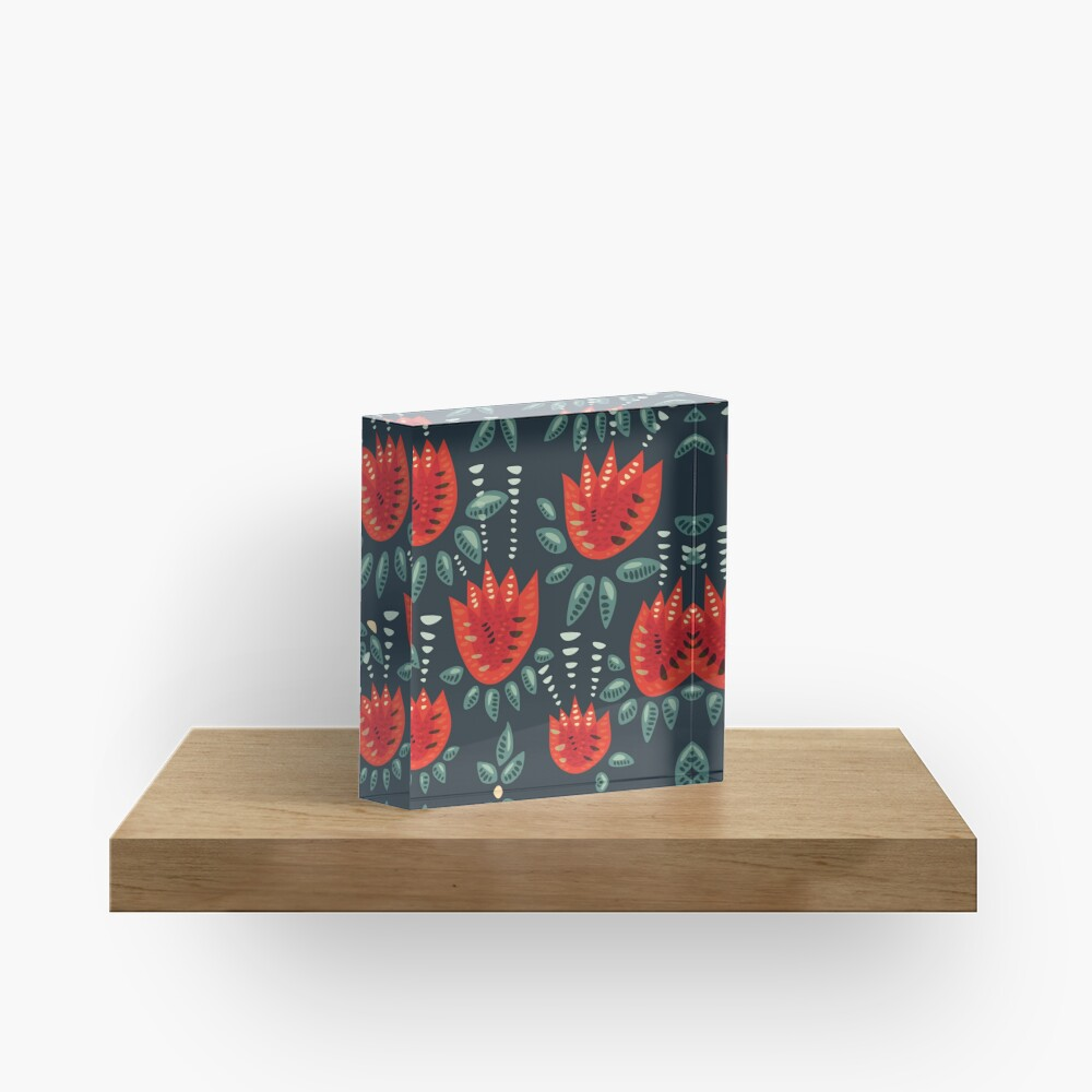 Beautiful Red Abstract Tulip Pattern Acrylic Block
