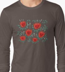 Beautiful Red Abstract Tulip Pattern Long Sleeve T-Shirt