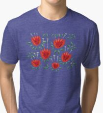 Beautiful Red Abstract Tulip Pattern Tri-blend T-Shirt