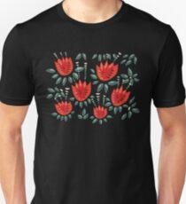 Schöner roter abstrakter Tulip Pattern Slim Fit T-Shirt