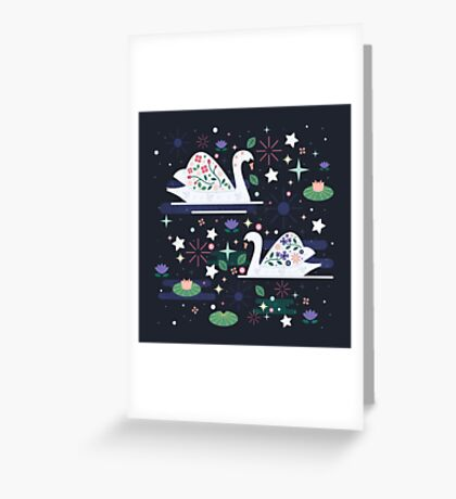 Swans on Stars  Greeting Card