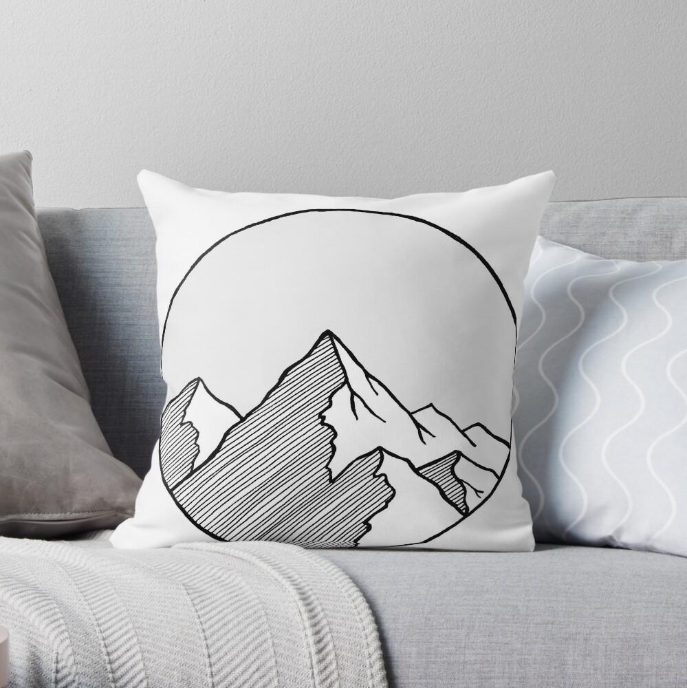 Mountains Sketch Throw Pillow