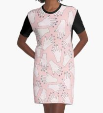 f7cc019a Simple Pink Pastel Pattern - Nail Studio - Manicured Hands Graphic T-Shirt  Dress