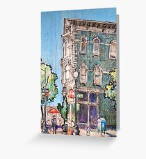 Red umbrella on 9th Street Greeting Card