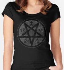eVIL pENTAGRAM , bLACK mETAL sATANIC t-SHIRT,oCCULt  FAShIOn Women's Fitted Scoop T-Shirt