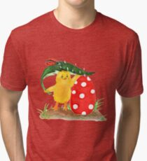 Chicken and easter eggs Tri-blend T-Shirt