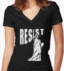 Resist Lady Liberty Women's Fitted V-Neck T-Shirt