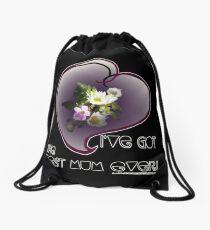 wildflower, Best Mum EVER! heart quirky Drawstring Bag