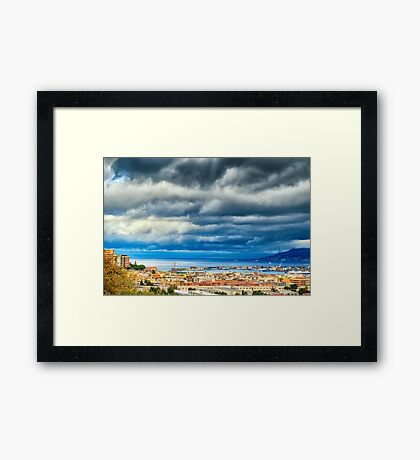 View of Messina Strait, Sicily,  with dramatic sky Framed Print
