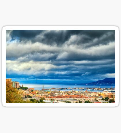 View of Messina Strait, Sicily,  with dramatic sky Sticker