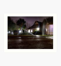 Sprinklers at Night Art Print