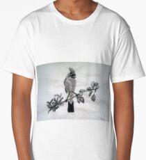Ampelis Americano Spring Bird Print Oriental Zen Minimalism - Sumi e ink Long T-Shirt
