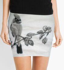 Ampelis Americano Spring Bird Print Oriental Zen Minimalism - Sumi e ink Mini Skirt