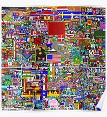 Reddit r/Place 12K Official r/TheFinalClean Cleaned Version – FINAL Revision, April 12th (Without Void) **Now with Waldo's/Wally's hat!** Poster