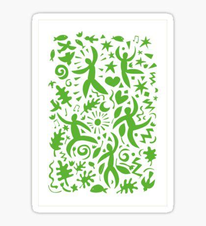 Cuban Salsa - green on white - contemporary dance pattern by Cecca Designs Sticker