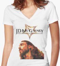 JD McGibney - Fire Head Women's Fitted V-Neck T-Shirt