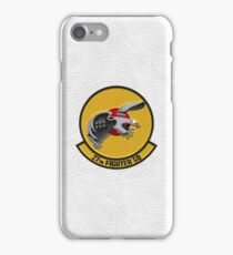 27th Fighter Squadron - 27 FS Patch over White Leather iPhone Case/Skin