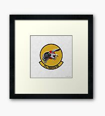 27th Fighter Squadron - 27 FS Patch over White Leather Framed Print