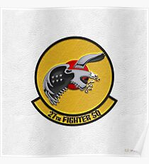 27th Fighter Squadron - 27 FS Patch over White Leather Poster