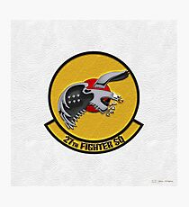 27th Fighter Squadron - 27 FS Patch over White Leather Photographic Print