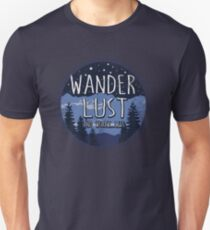 Wanderlust and Worry Less - Weathered Blue Circle Unisex T-Shirt