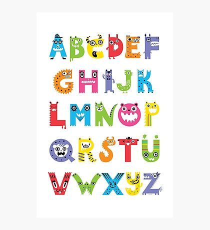 Alphabet Monsters poster Photographic Print
