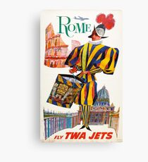 Vintage Rome Travel Swiss Guard Canvas Print