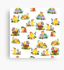 Chickens and easter eggs Canvas Print
