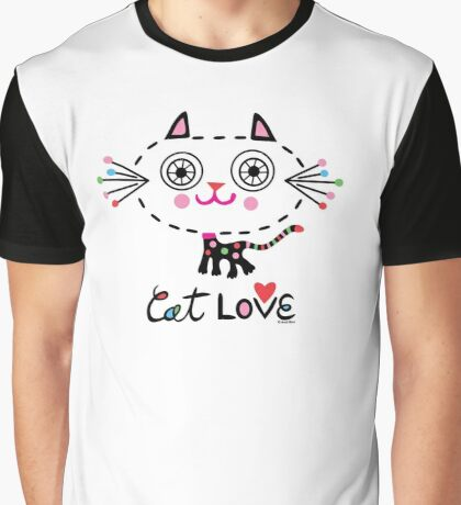 Cat Love - heart Graphic T-Shirt