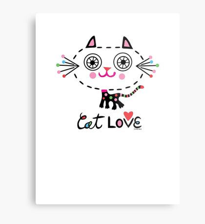 Cat Love - heart Metal Print
