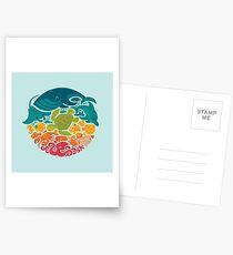 Aquatic Rainbow (light blue) Postcards