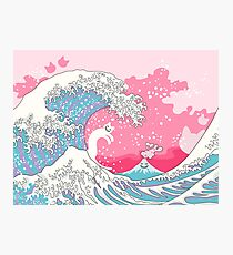 Psychodelic Bubblegum Kunagawa Surfer Cat Photographic Print