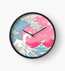 Psychodelic Bubblegum Kunagawa Surfer Cat Clock