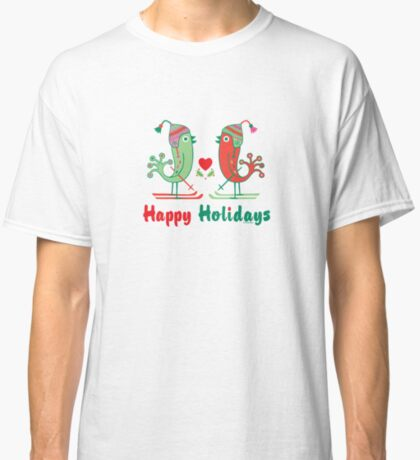Ski Birds Happy Holidays Classic T-Shirt