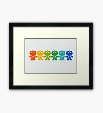Rainbow Robots holding hands Framed Print