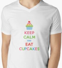 Keep Calm and Eat Cupcakes 5  Mens V-Neck T-Shirt