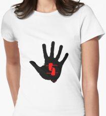 Bad Dream aro - black hand on aqua Womens Fitted T-Shirt