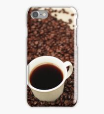 Coffee beans with a white cup of coffee iPhone Case/Skin