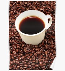 Coffee beans with a white cup of coffee Poster