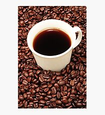 Coffee beans with a white cup of coffee Photographic Print
