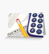 IRS form W-4 close up with tax preparation tools Greeting Card