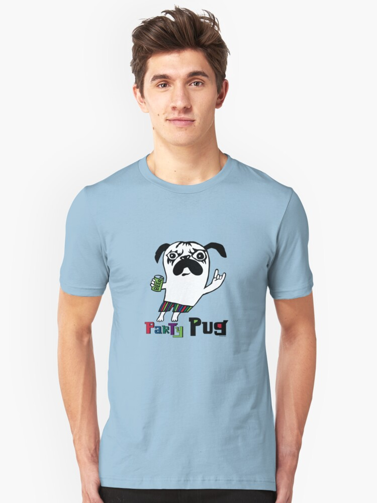 Party Pug on colors Unisex T-Shirt Front