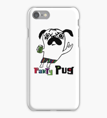 Party Pug on colors iPhone Case/Skin