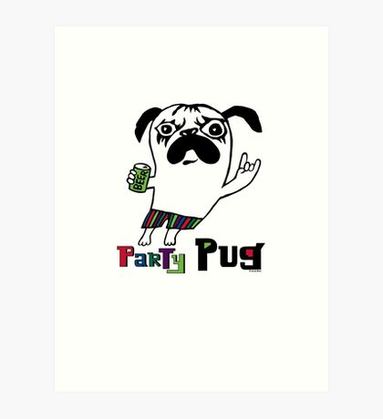 Party Pug on colors Art Print