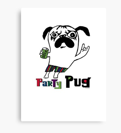 Party Pug on colors Canvas Print