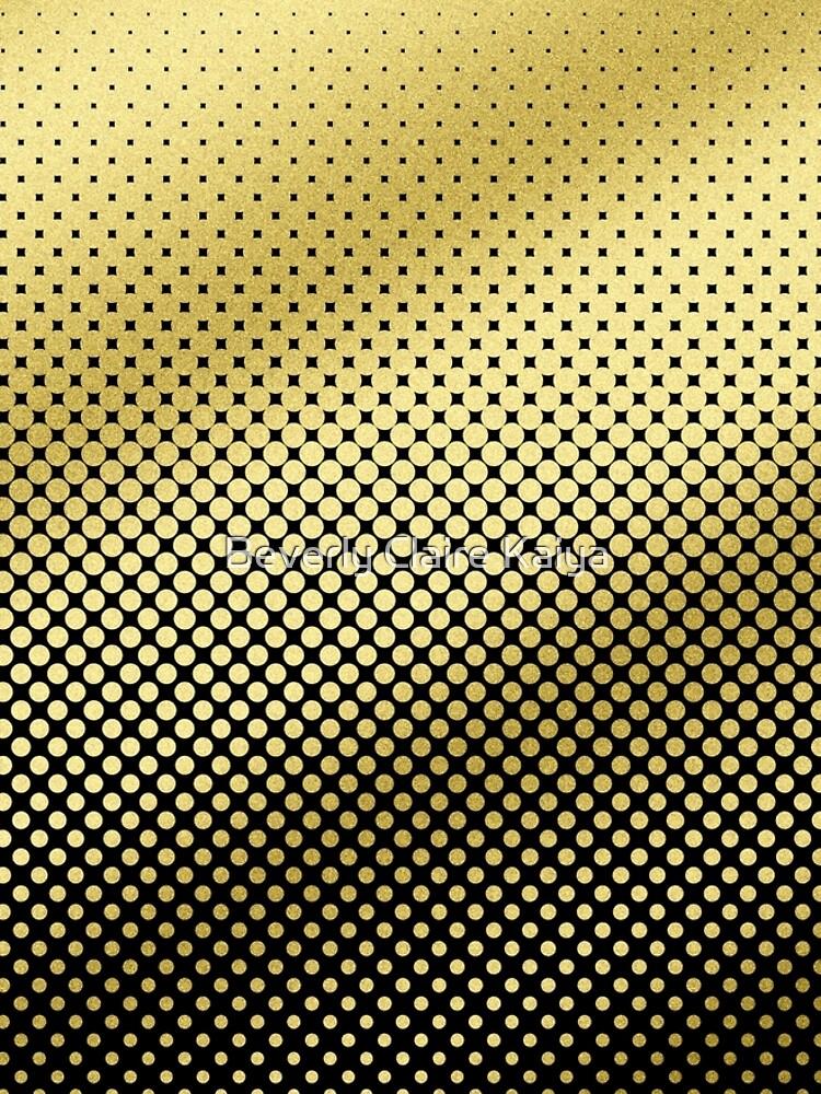 Polka Dots Gold Glitter Black Modern by beverlyclaire