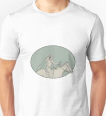 Cowboy Riding Horse Lasso Oval Drawing T-Shirt