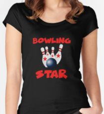 Bowling Star Funny Image Women's Fitted Scoop T-Shirt