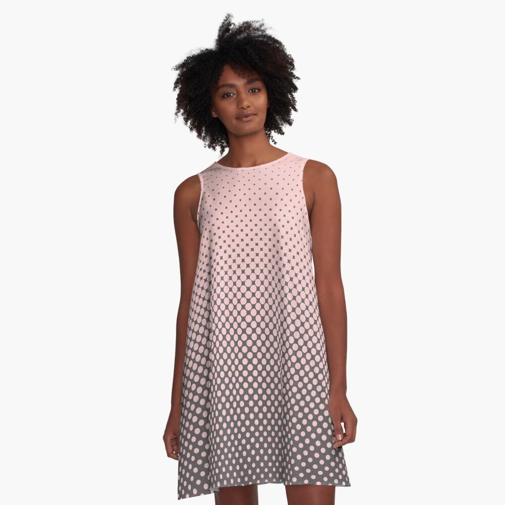 Polka Dots Millennial Pink Opal Grey Trendy A-Line Dress Front